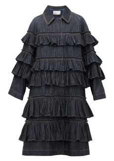 Valentino Ruffled-tier denim coat
