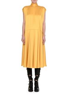 Valentino Satin Mock-Neck Midi Dress