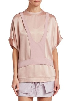 Valentino Satin Short Sleeve Harness Top