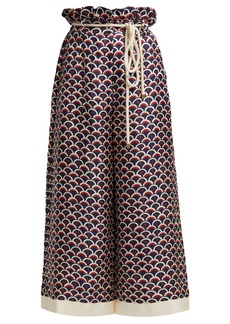 Valentino Scale-print paperbag-waist silk trousers