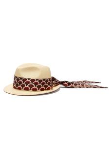 Valentino Scale-print scarf straw Panama hat
