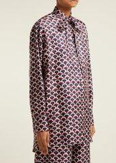 Valentino Scale-print silk-twill blouse
