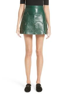 Valentino Scallop Detail Leather Miniskirt
