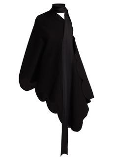 Valentino Scallop-edged asymmetric cape blouse