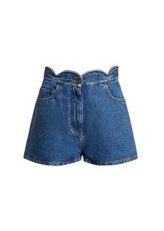 Valentino Scallop-edged denim shorts