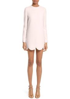 Valentino Scallop Hem Wool & Silk Shift Dress