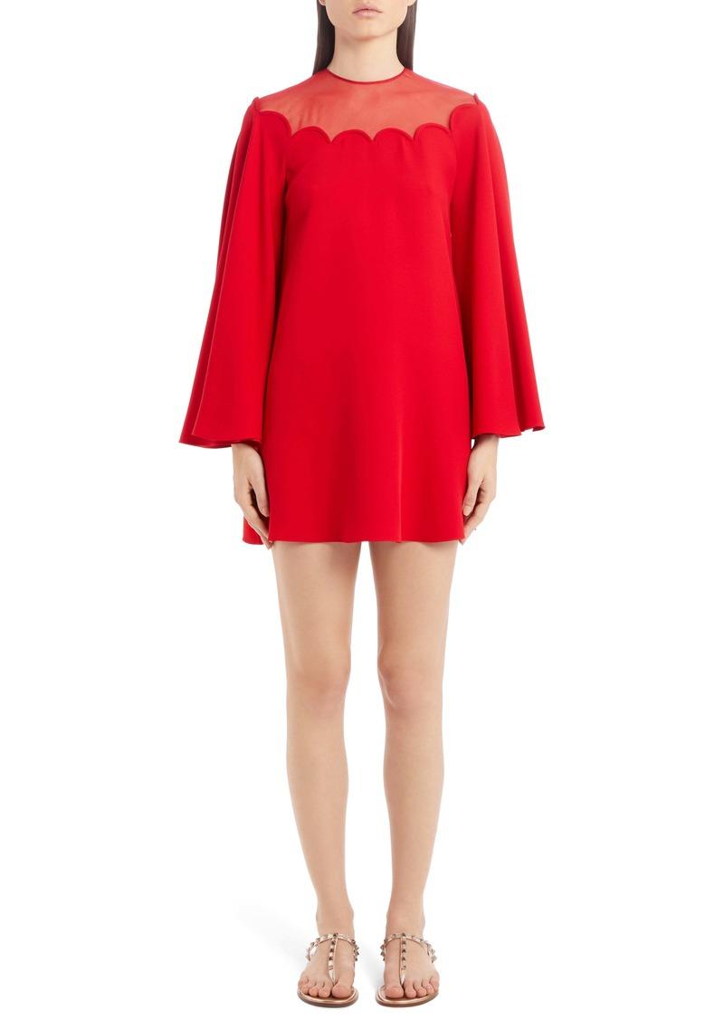 Valentino Scallop Neck Long Sleeve Silk Cady Minidress
