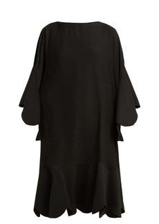 Valentino Scalloped-edge silk-georgette dress