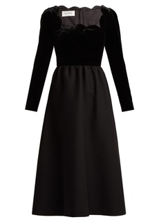 Valentino Scalloped-edge wool and silk-blend midi dress
