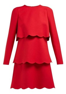 Valentino Scalloped-edge wool and silk-blend mini dress