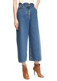 Valentino Scalloped High-Waist Cropped Wide-Leg Jeans