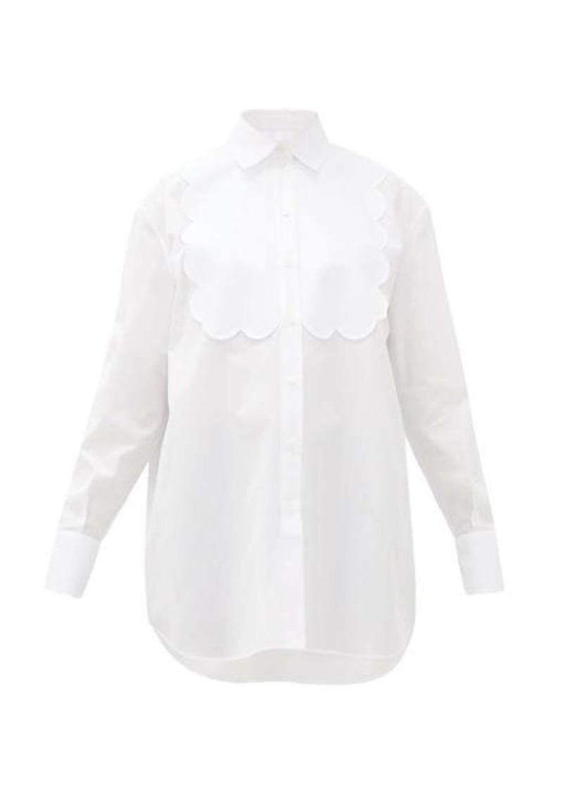 Valentino Scalloped-panel cotton-poplin tuxedo shirt