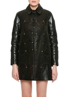 Valentino Scalloped Rockstud Leather Coat