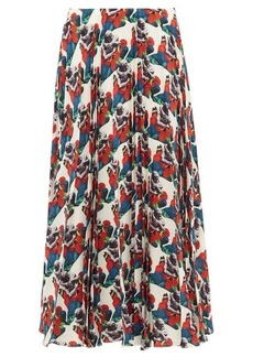 Valentino Sculpture-print pleated silk skirt