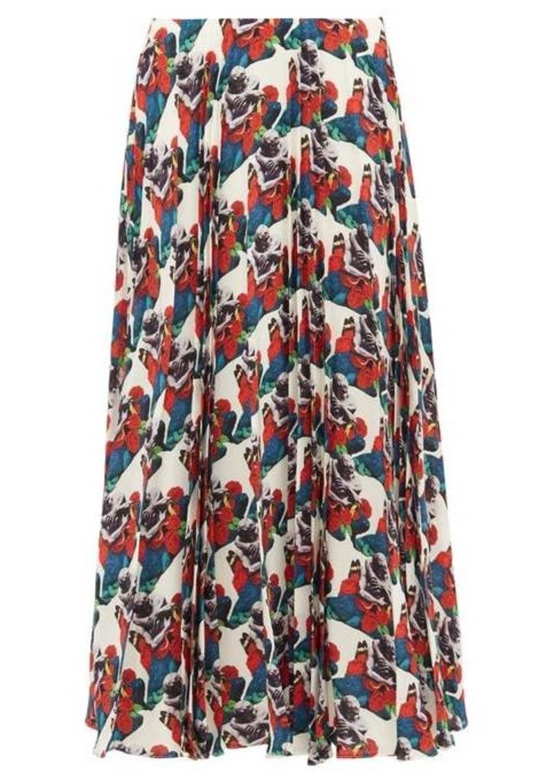 Valentino Sculpture-print pleated silk skirt