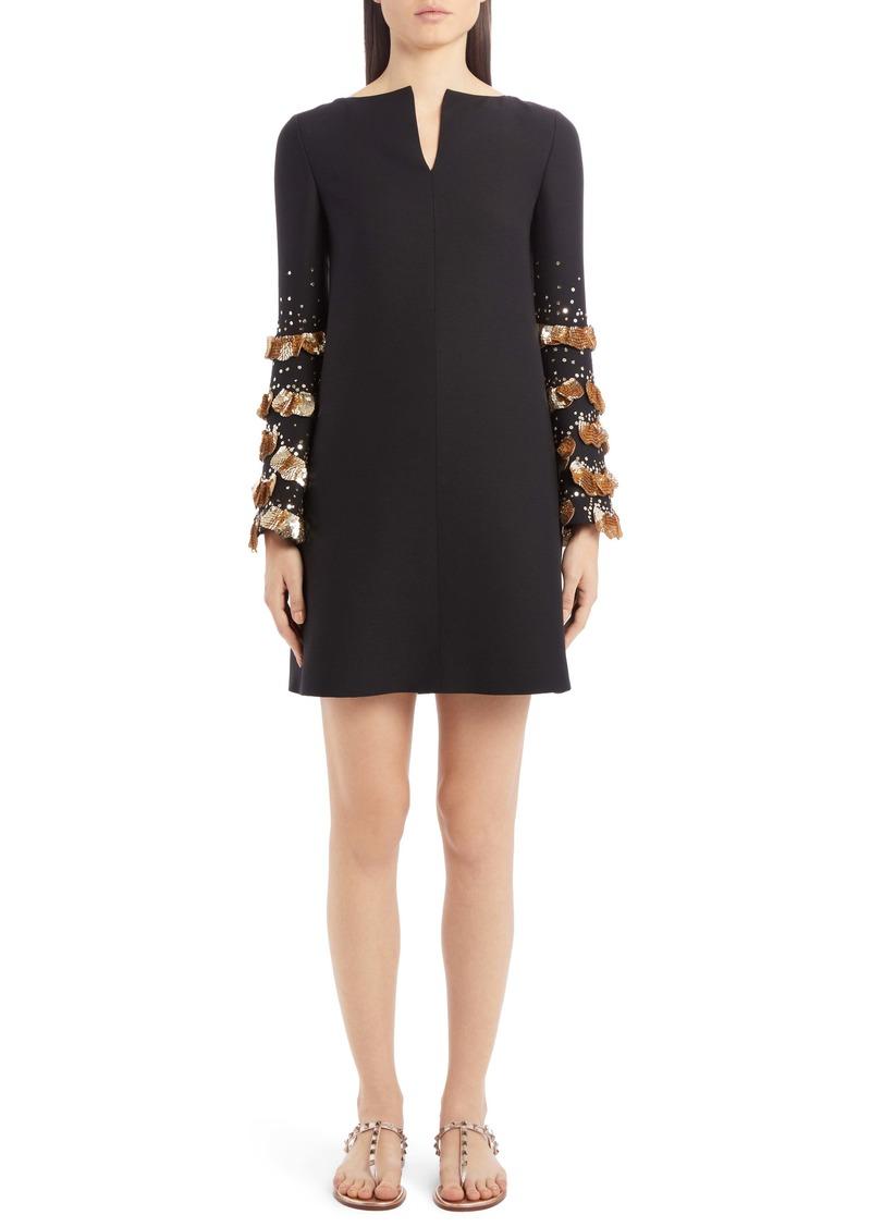 Valentino Sequin Bell Sleeve Wool & Silk Shift Dress
