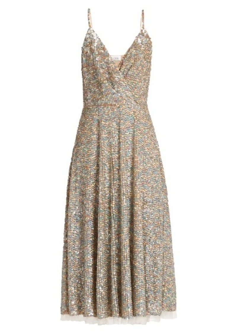 Valentino Sequin-embellished sleeveless midi dress