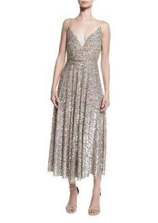 Valentino Sequined Wrap-Bodice Slip Dress