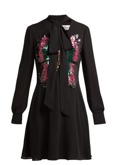 Valentino Sequinned-butterfly silk dress