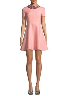 Valentino Short-Sleeve Crepe Couture A-Line Dress w/ Embroidered Collar