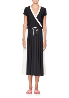 Valentino Short-Sleeve Faux-Wrap Bicolor Jersey Midi Dress