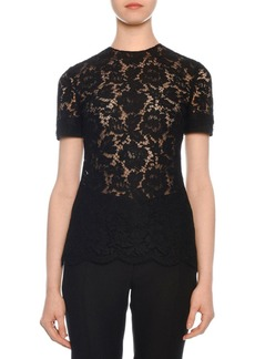 Valentino Short-Sleeve Heavy Lace Top