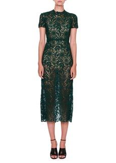 Valentino Short-Sleeve Lace Midi Dress