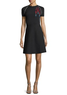 Valentino Short-Sleeve Lipstick-Sequined Stretch Knit Dress