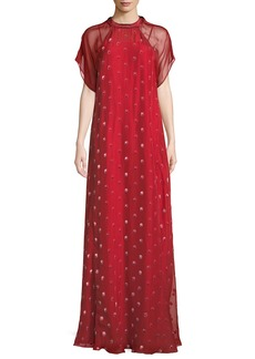 Valentino Short-Sleeve Rosebud Embroidered Column Silk Evening Gown