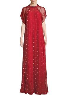 Short-Sleeve Rosebud Embroidered Column Silk Evening Gown