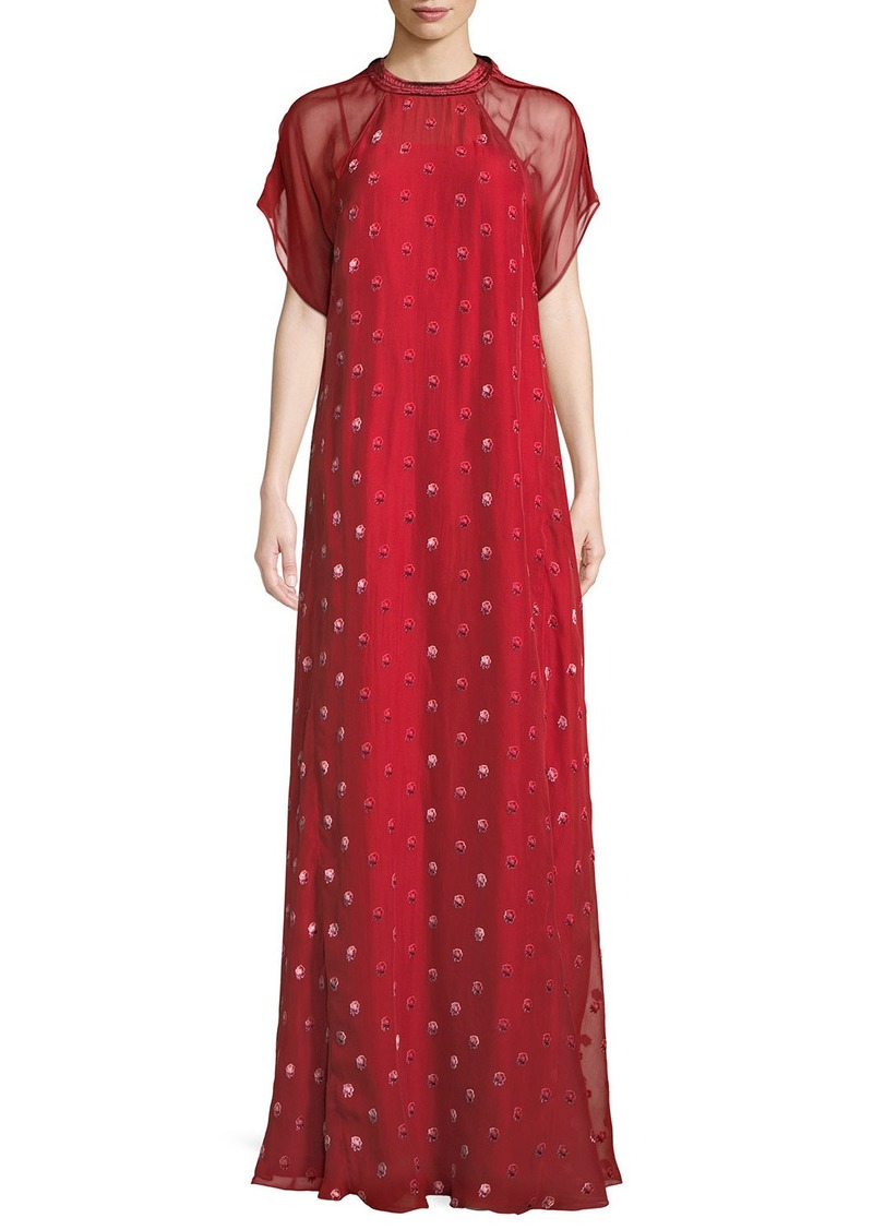 Valentino Short-Sleeve Rosebud Embroidered Column Silk Evening Gown ...