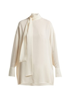 Valentino Silk-georgette tie-neck blouse
