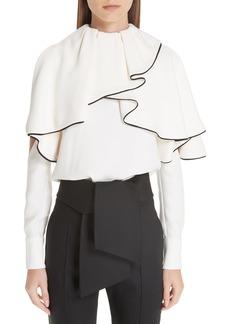 Valentino Silk Ruffle Cold Shoulder Blouse