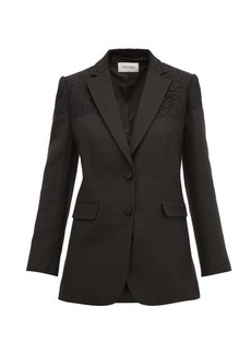 Valentino Single-breasted lace-trimmed wool-blend jacket