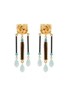 Valentino Skull-embellished drop-pendant clip earrings