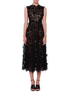 Valentino Sleeveless 3D Lace Midi Dress