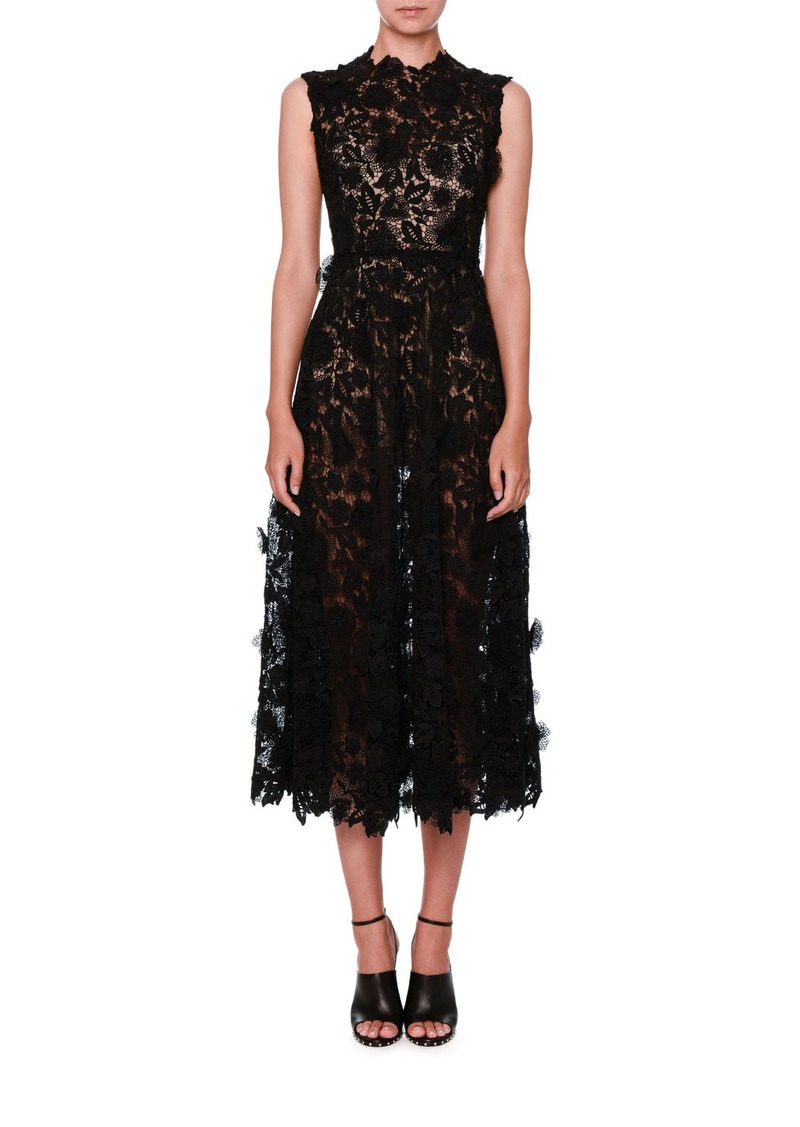 SALE! Valentino Valentino Sleeveless 3D Lace Midi Dress