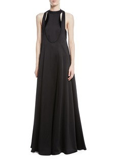 Valentino Sleeveless Cutout Hammered Satin Gown