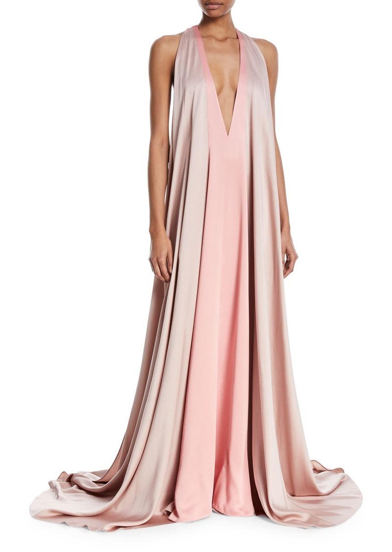 Valentino Sleeveless Deep-V Colorblock Evening Gown   Dresses
