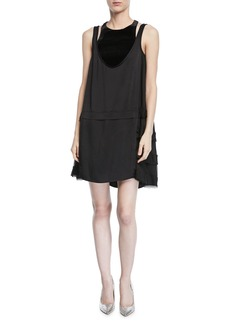 Valentino Sleeveless Hammered Satin Dress w/ Sheer Sides
