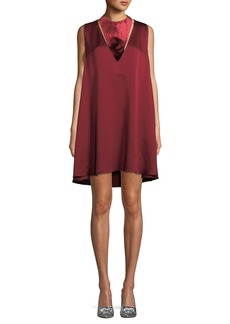 Valentino Sleeveless Hammered Satin Dress with Velvet Neck
