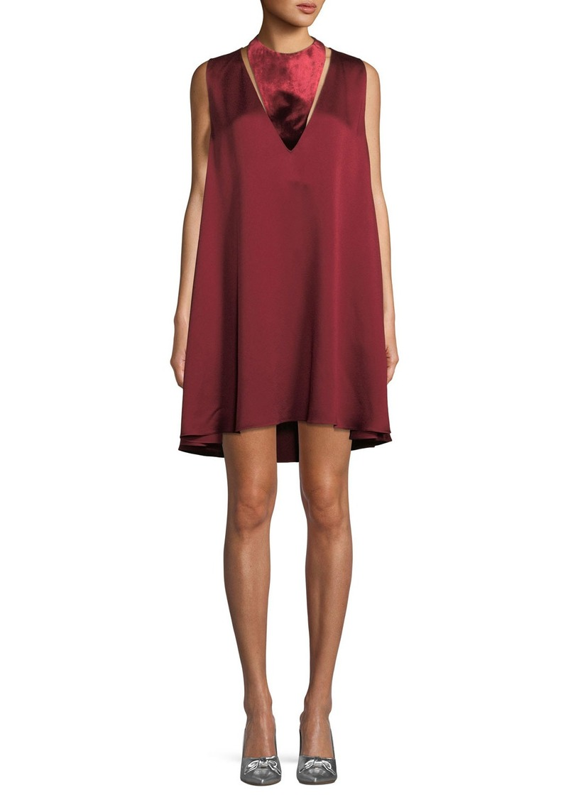 Valentino Sleeveless Hammered Satin Dress with Velvet Neck