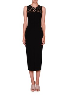 Valentino Sleeveless Lace-Yoke Pencil Dress