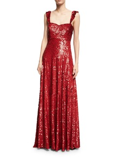 Valentino Sleeveless Sequined Silk Sweetheart Gown