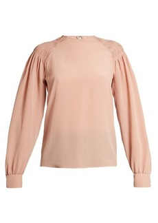 Valentino Smocked-shoulder silk crepe de Chine top