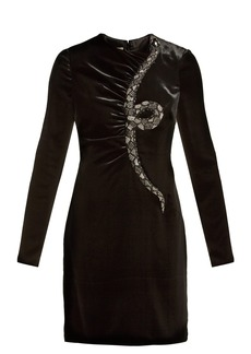 Valentino Snake-embroidered beaded velvet mini dress