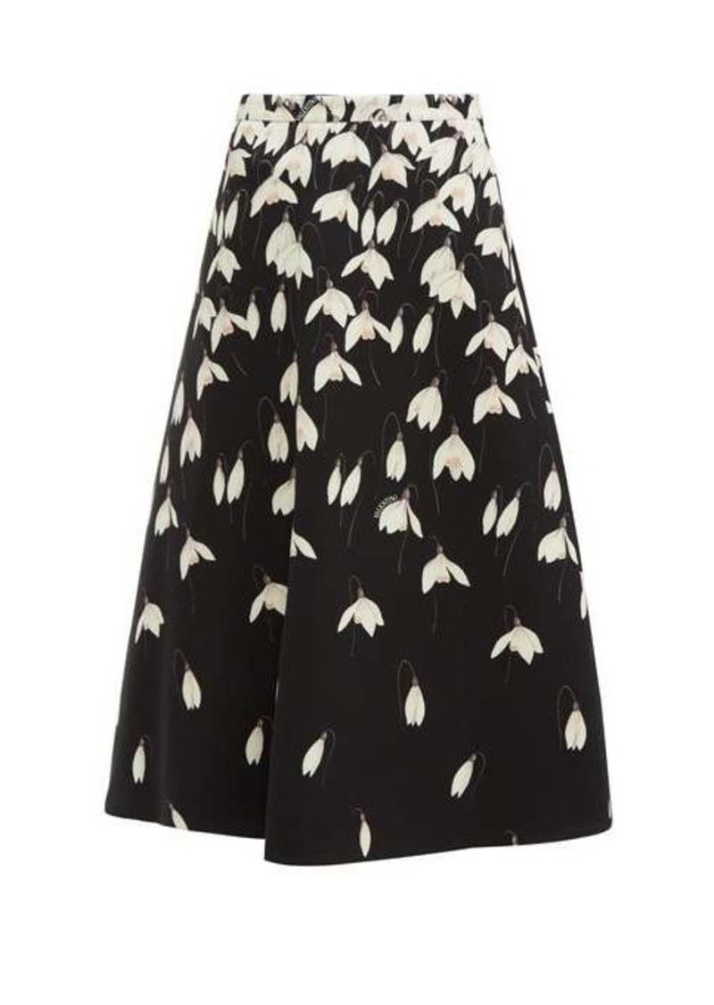 Valentino Snowdrop-print wool-blend crepe midi skirt