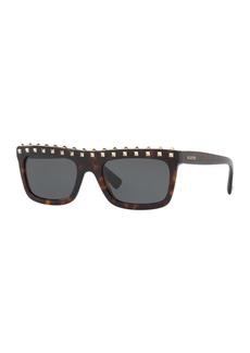 Valentino Soul Rockstud Flat-Top Monochromatic Sunglasses