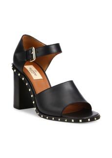 Valentino Soul Rockstud Leather Block Heel Sandals