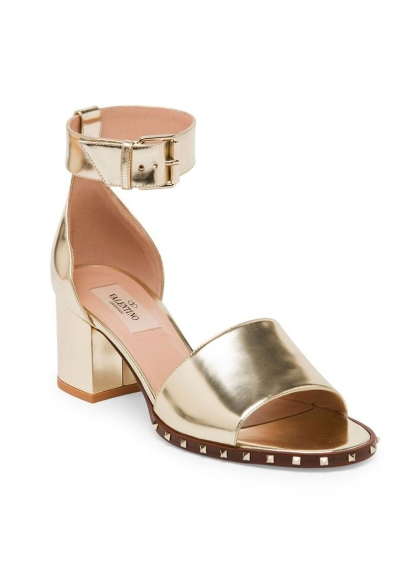 a3e94c4f971 Garavani Soul Rockstud Metallic Leather Ankle-Strap Sandals. Valentino